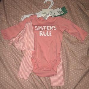Pink 3 piece onesie set
